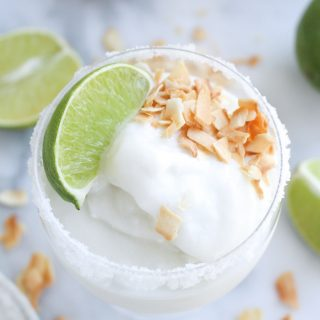 Coconut Margarita Slushies (made in an ice cream machine!)