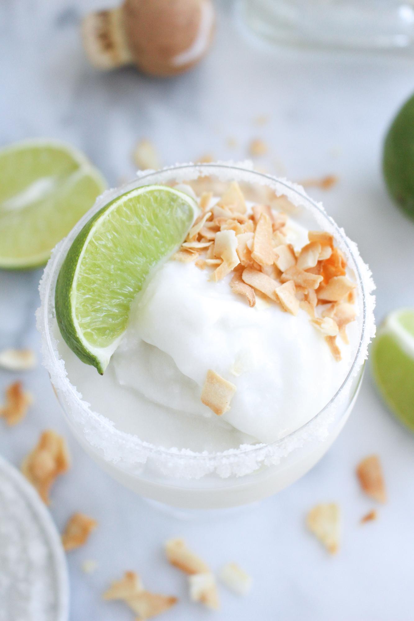 Coconut Margarita Slushies (made in an ice cream machine!)