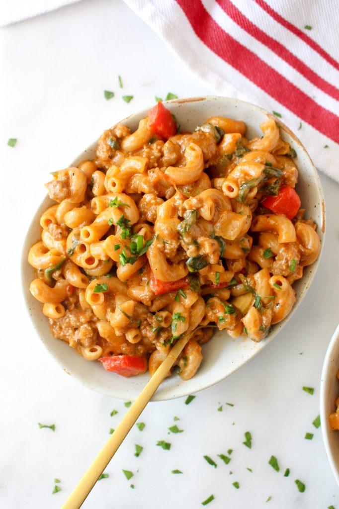 One-Pot Cheesy Beef Macaroni   yestoyolks.com
