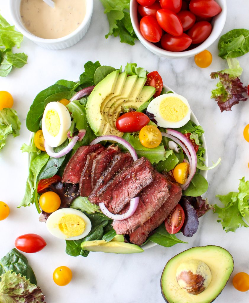 Steak Cobb Salad with Caramelized Onion-Yogurt Dressing | yestoyolks.com