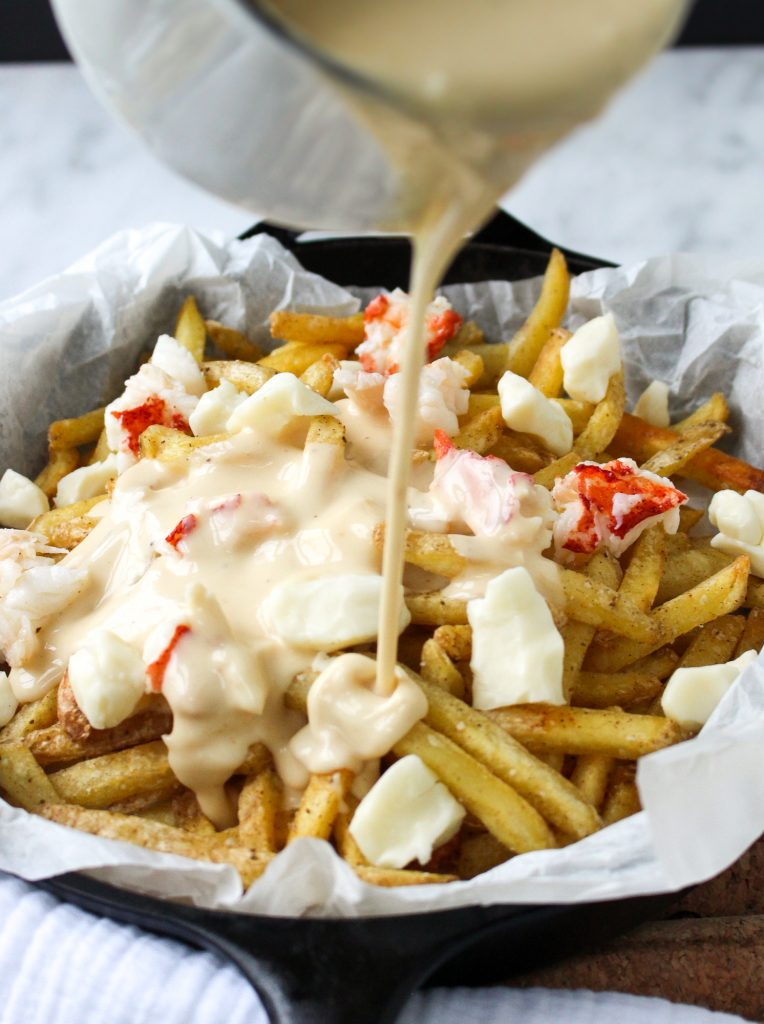 Lobster Poutine with Brown Butter Cheese Sauce | yestoyolks.com