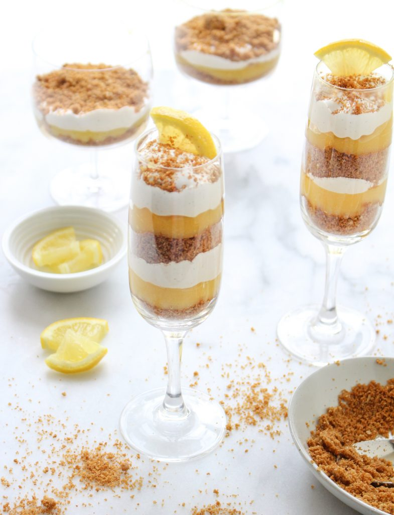 Mini Lemon Meringue Pie Parfaits (with marshmallow meringue!) | yestoyolks.com
