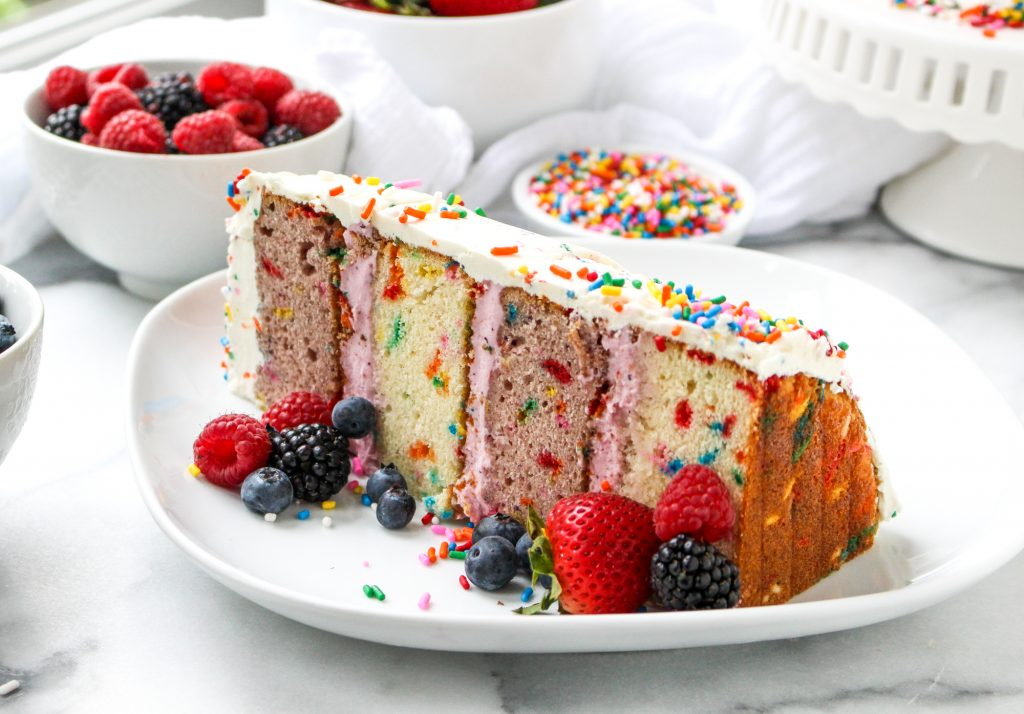 Mixed Berry Confetti Layer Cake | yestoyolks.com