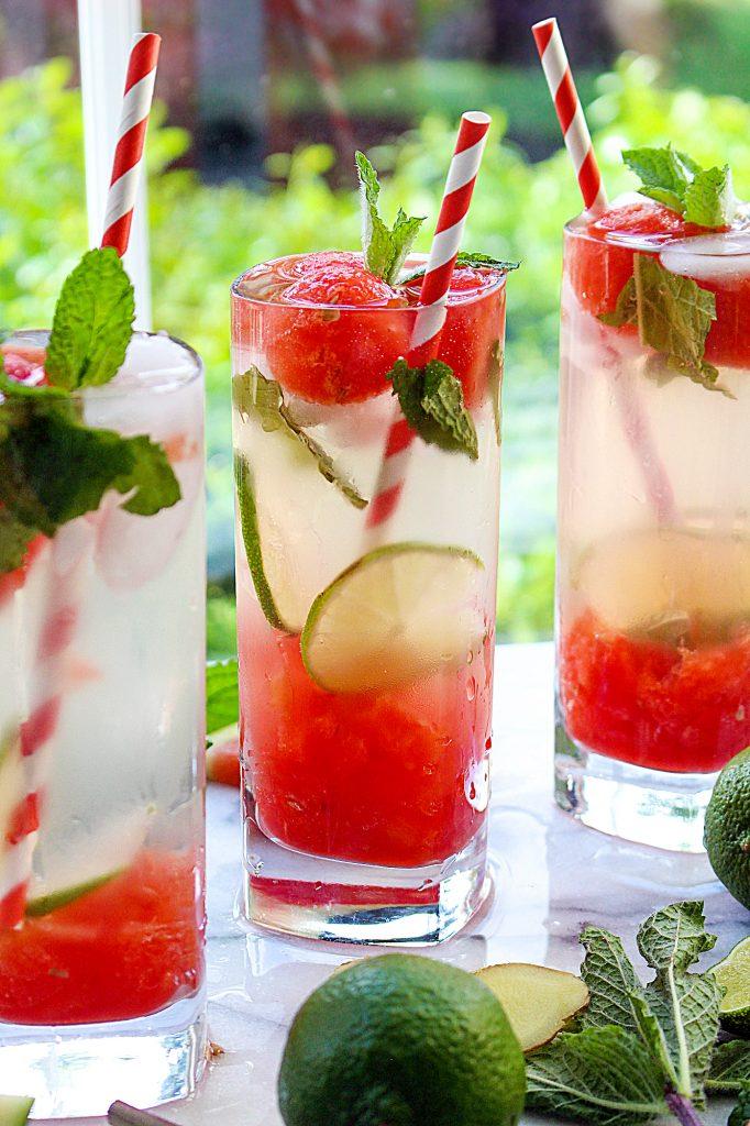 Ginger-Mint Watermelon Mojitos | yestoyolks.com