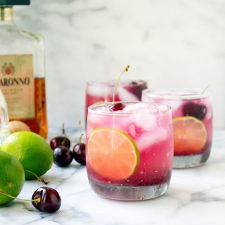 Fresh Cherry Amaretto Margaritas