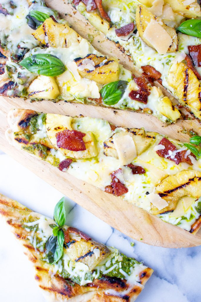 Grilled Pineapple Pizza with Bacon & Pesto
