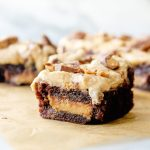 Chocolate Peanut Butter Cup Brownies with Peanut Butter Frosting | yestoyolks.com