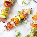 Greek Chicken Skewers with Kalamata Olive Tzatziki