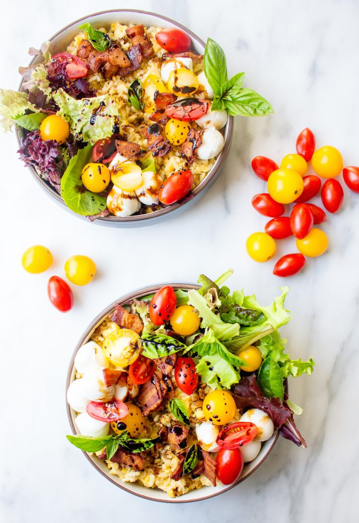 Caprese Rice & Lentil Bowls with Bacon