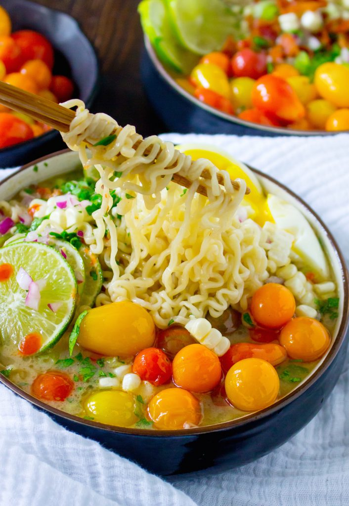 Summer Ramen with Fresh Corn & Blistered Tomatoes