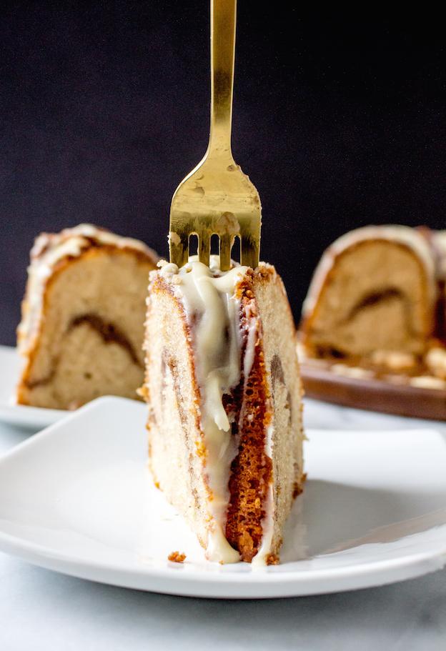 Cinnamon Roll Coffee Cake with Vanilla Bean Cream Cheese Glaze
