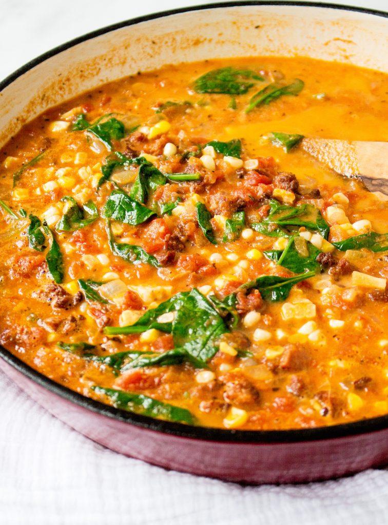 One-Pot Cheese Chorizo Tortellini