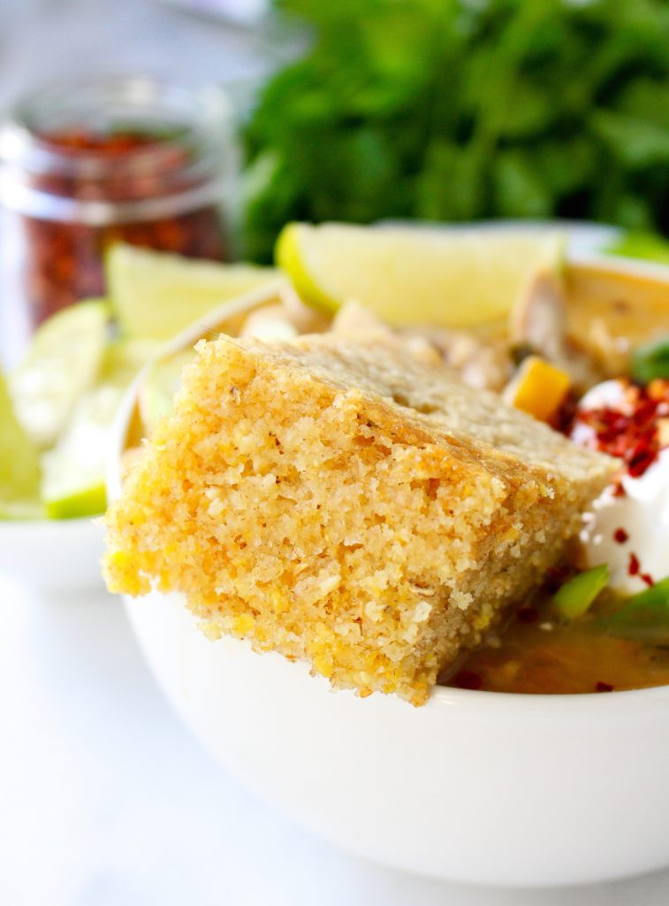 White Chicken Chili with Brown Butter Buttermilk Skillet Cornbread