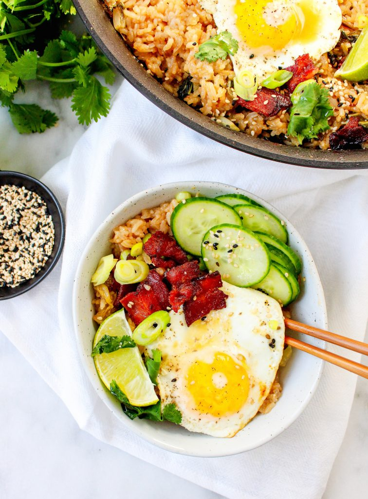 Kimchi Fried Rice with Eggs & Bacon