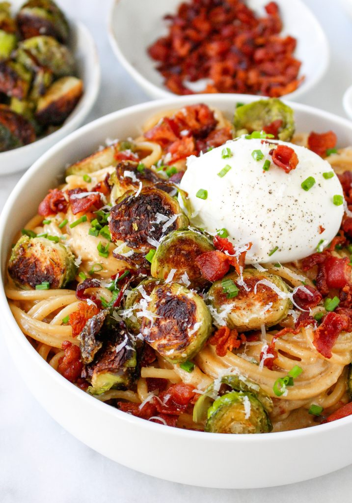 Caramelized Onion Carbonara with Brussels Sprouts & Burrata