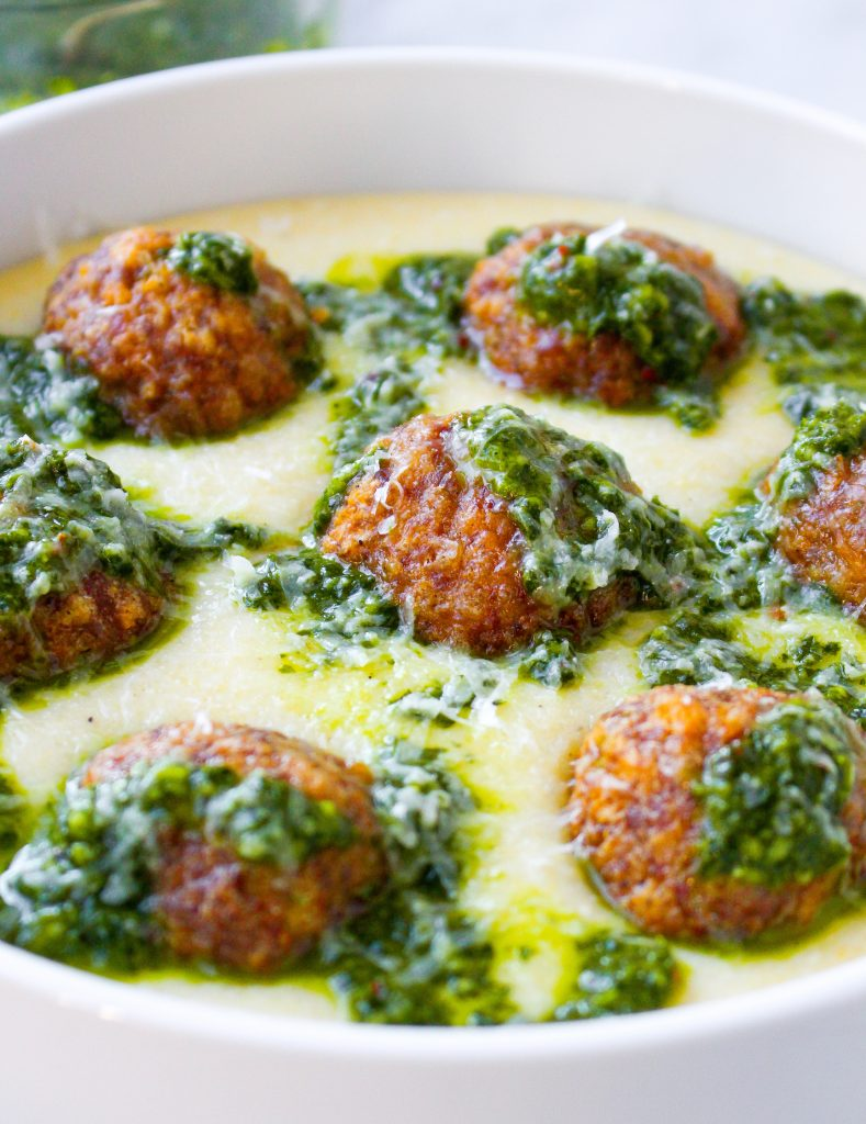 Lamb Meatballs with Manchego Polenta & Chimichurri