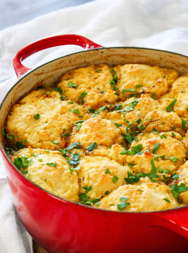 Braised Marsala Pork Stew with Cheddar Cornmeal Biscuits