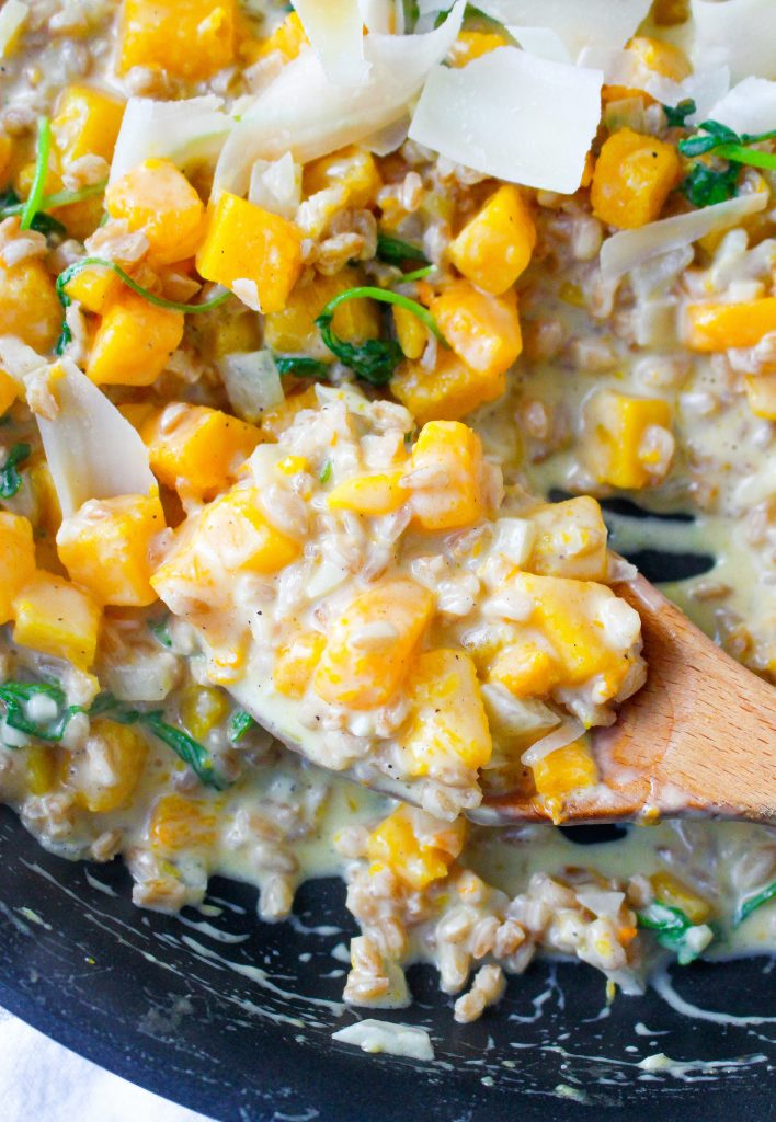 Farro Risotto with Butternut Squash, Greens, & Truffle Oil