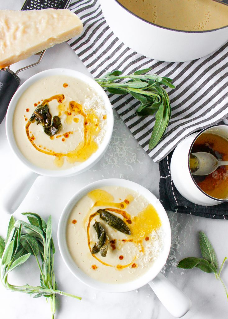 Creamy Cauliflower Soup with Fried Sage & Brown Butter