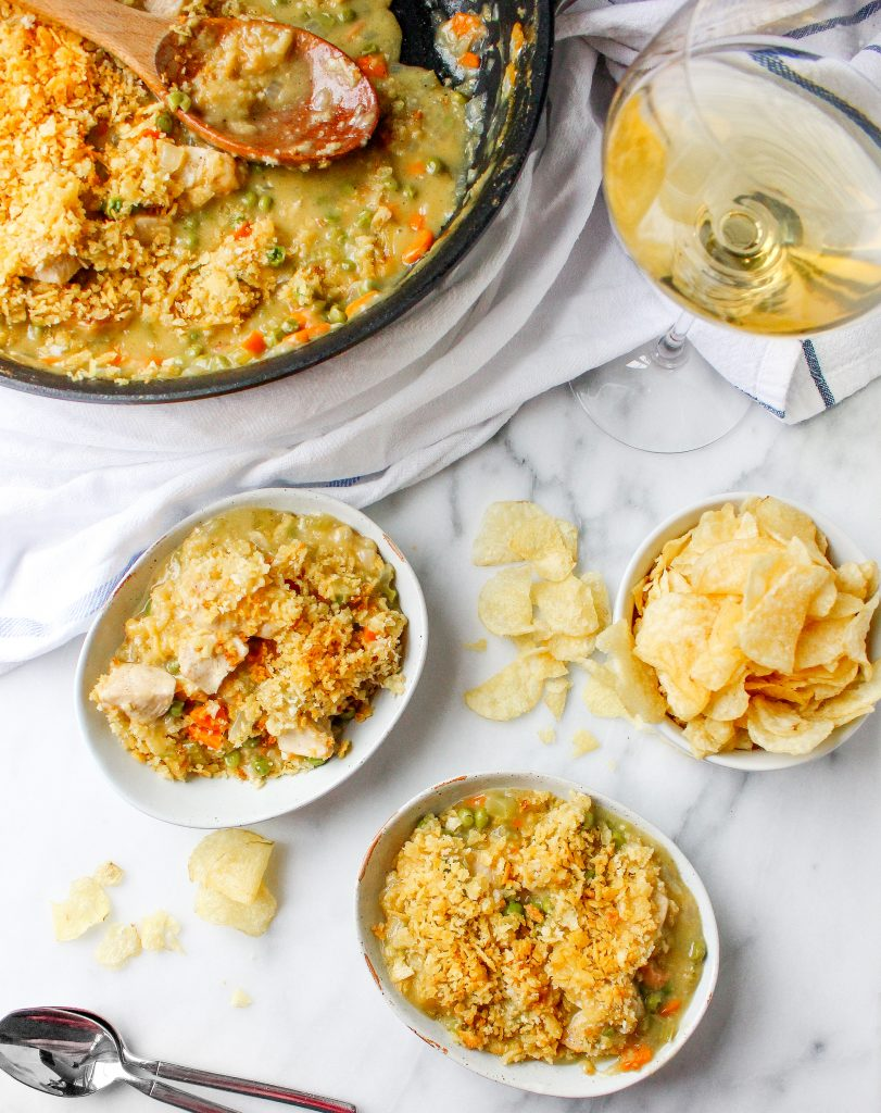 One-Skillet Chicken Pot Pie with Potato Chip Crust