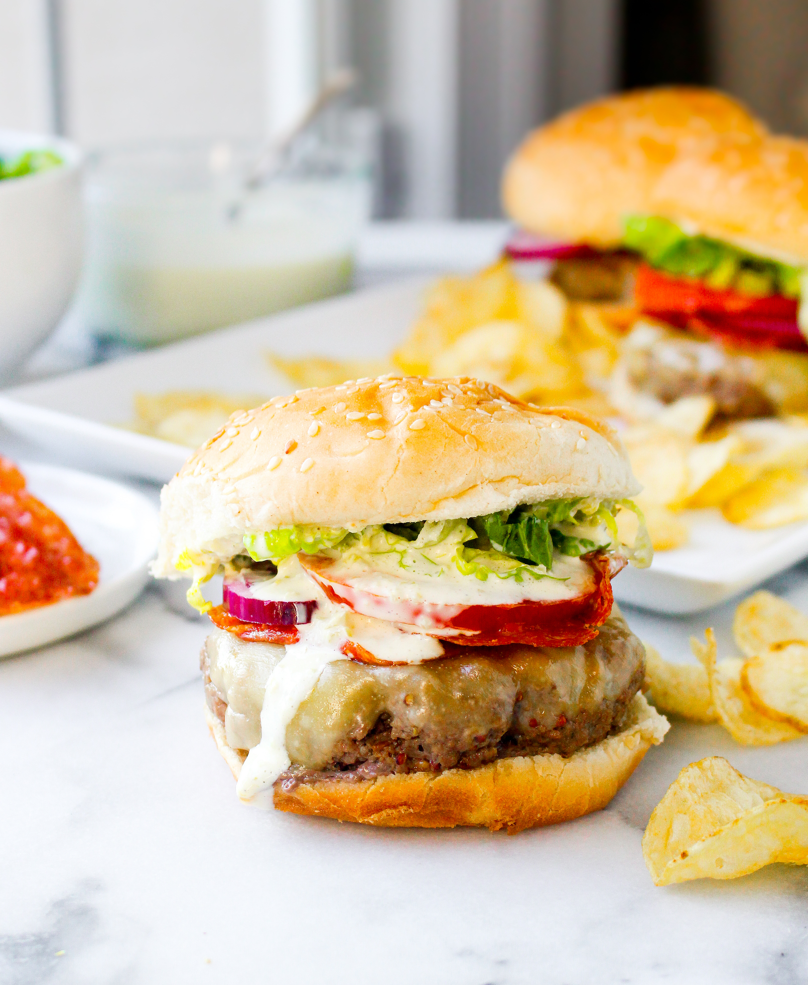 Roasted Garlic Burgers with Pepperoncini Aioli & Crispy Salami