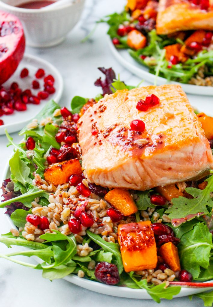 Pomegranate & Farro Salmon Salad