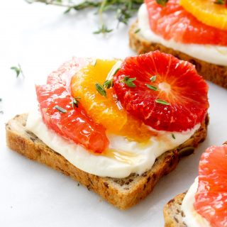 Whipped Ricotta Toasts with Winter Citrus & Thyme-Infused Honey