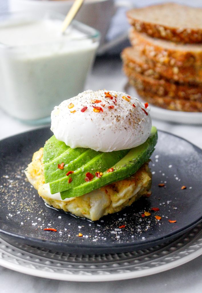 Crab Cake Stacks with Poached Eggs, Avocado, & Tartar Sauce Drizzle