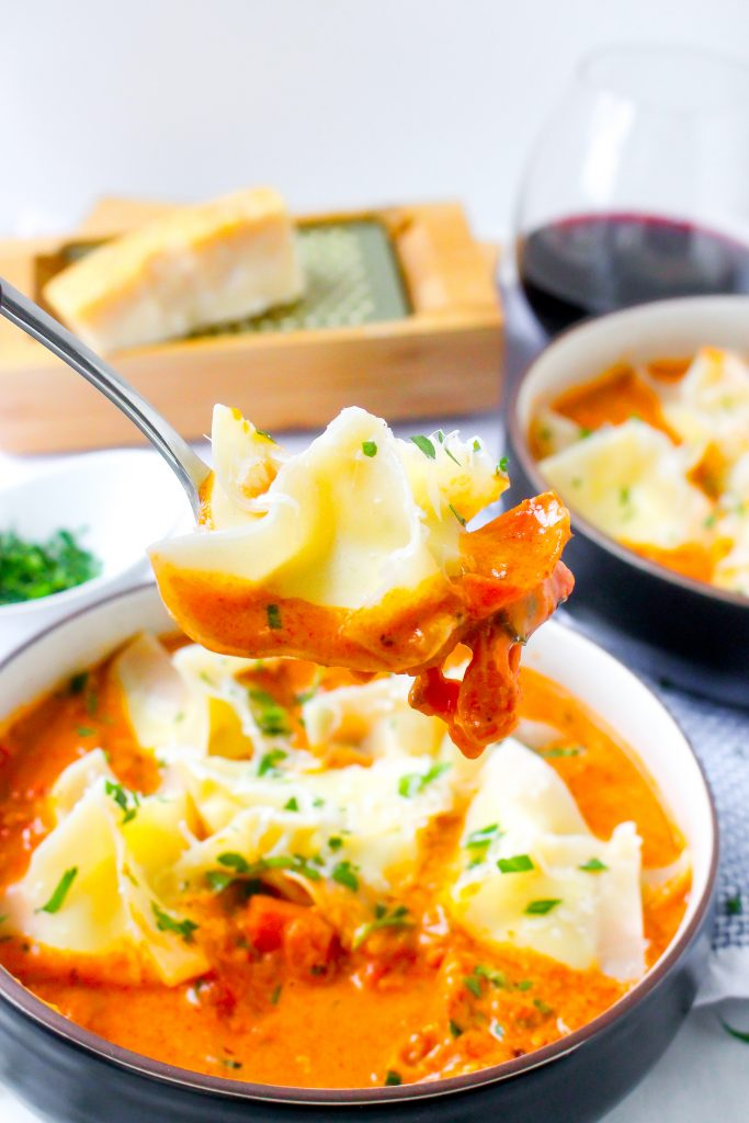 """Ricotta """"Pillows"""" in Creamy Pancetta Tomato Sauce"""