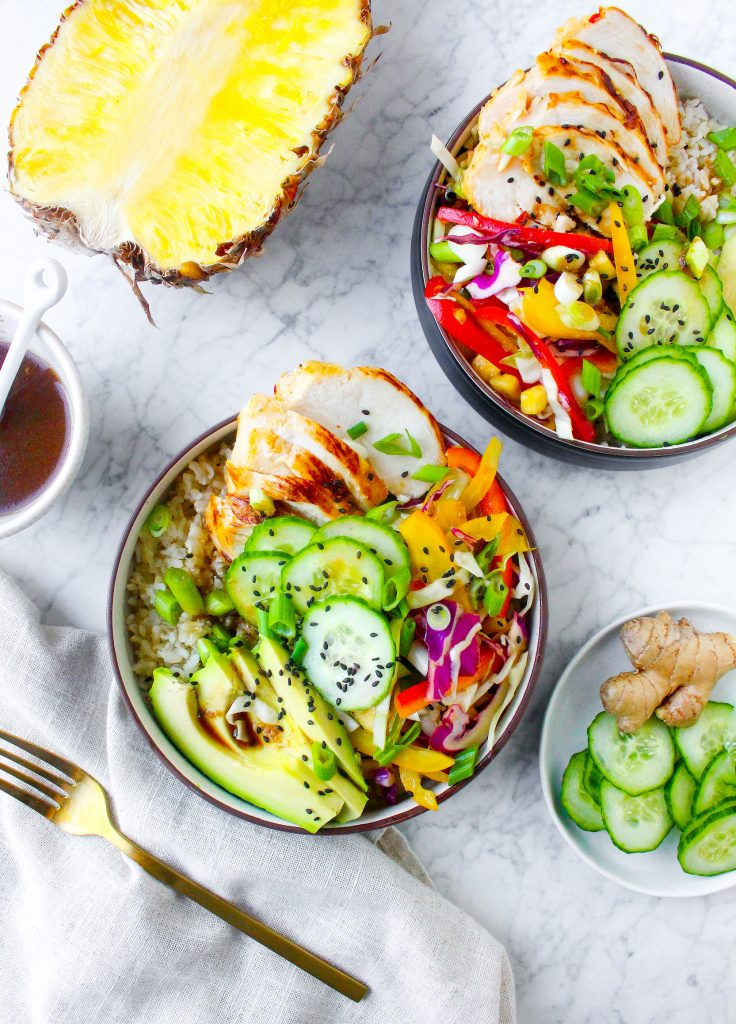 Ginger-Scallion Pineapple Chicken & Rice Bowls