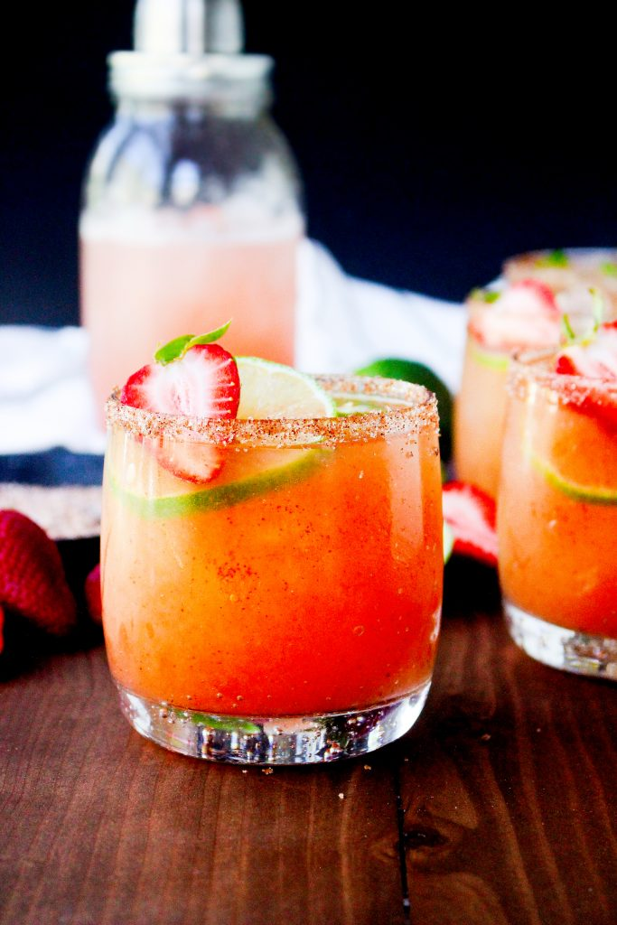 Smoky Strawberry Jalapeño Margaritas with Chile Salt Rim