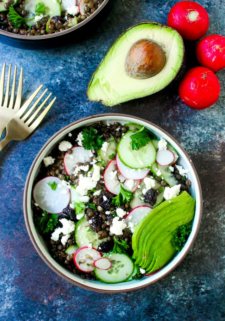 Herby Lentil Salad with Avocado & Feta