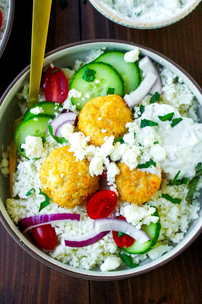 Greek Meatball Bowls with Cauliflower Rice & Tzatziki