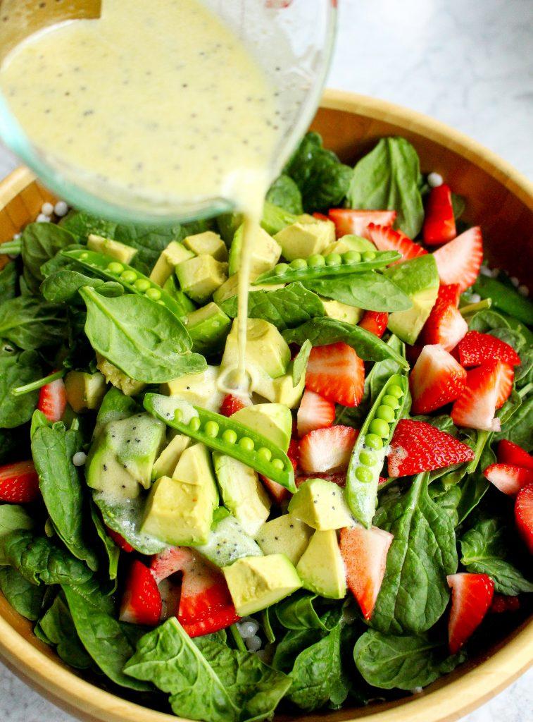 Israeli Couscous Salad with Strawberries, Snap Peas, & Lemon Poppy Seed Dressing