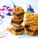 Chocolate Peanut Butter Fudge Bars with Coffee Granola Crumble