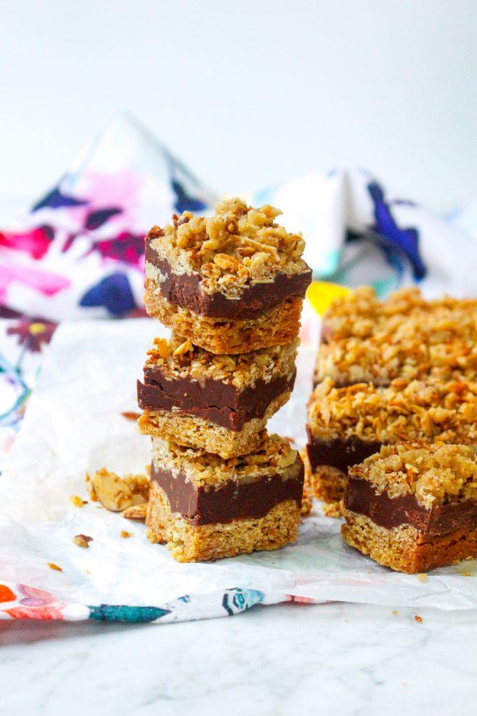 Chocolate Peanut Butter Fudge Bars with Coffee Granola Crumble
