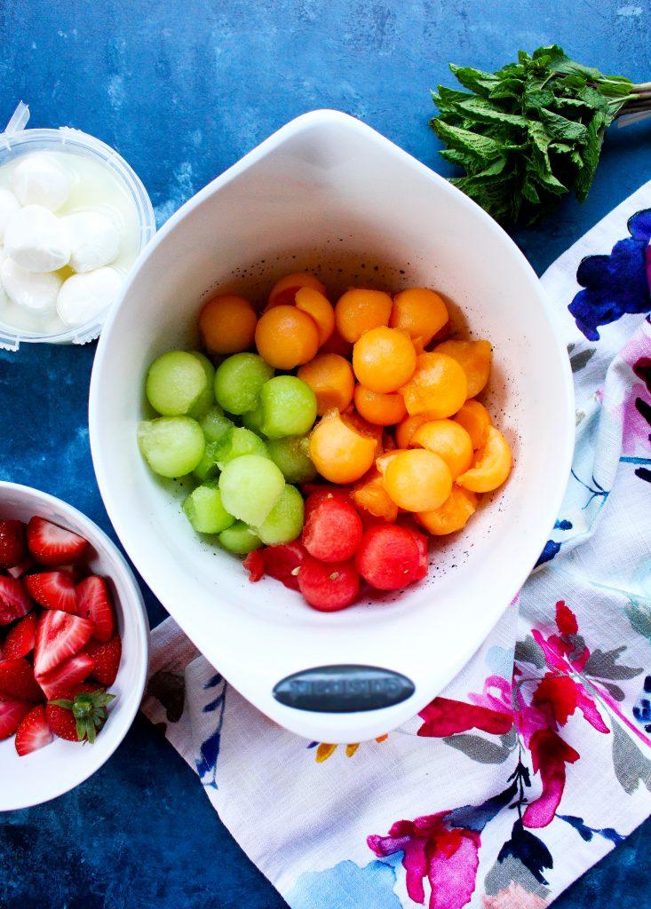 Strawberry & Melon Caprese Salad
