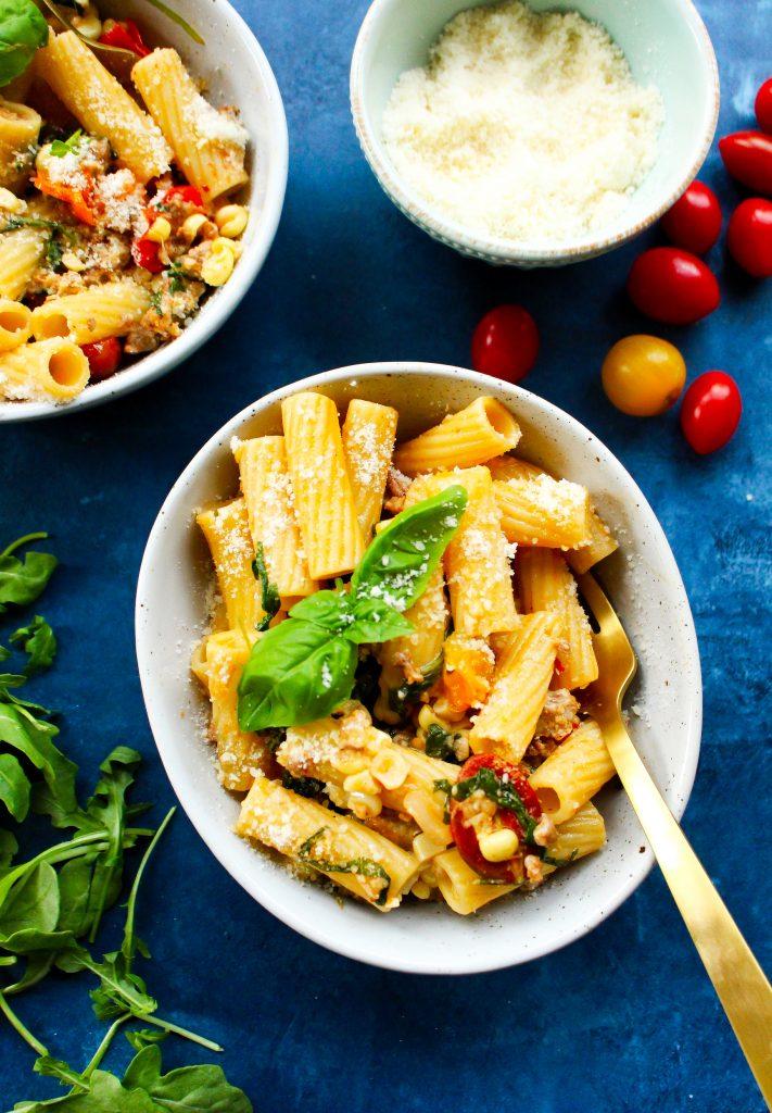 Easy Corn & Chorizo Pasta