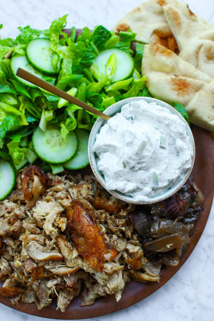 Slow-Cooker Chicken Shawarma Platter