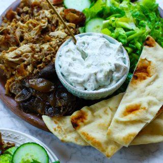 Slow-Cooker Chicken Shawarma Platter