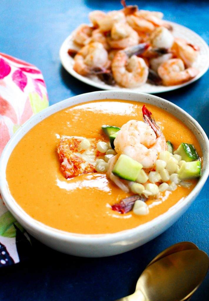 "Tomato Gazpacho with Corn, Shrimp, & Cheese ""Croutons"""