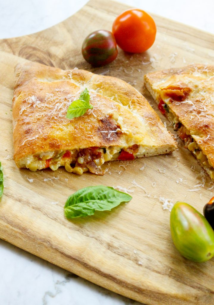 Summer Calzones with Corn, Tomatoes, & Bacon