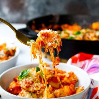 One-Pot Chicken Parmesan Pasta Skillet