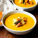 Creamy & Spicy Pumpkin Soup with Sage Brown Butter Croutons