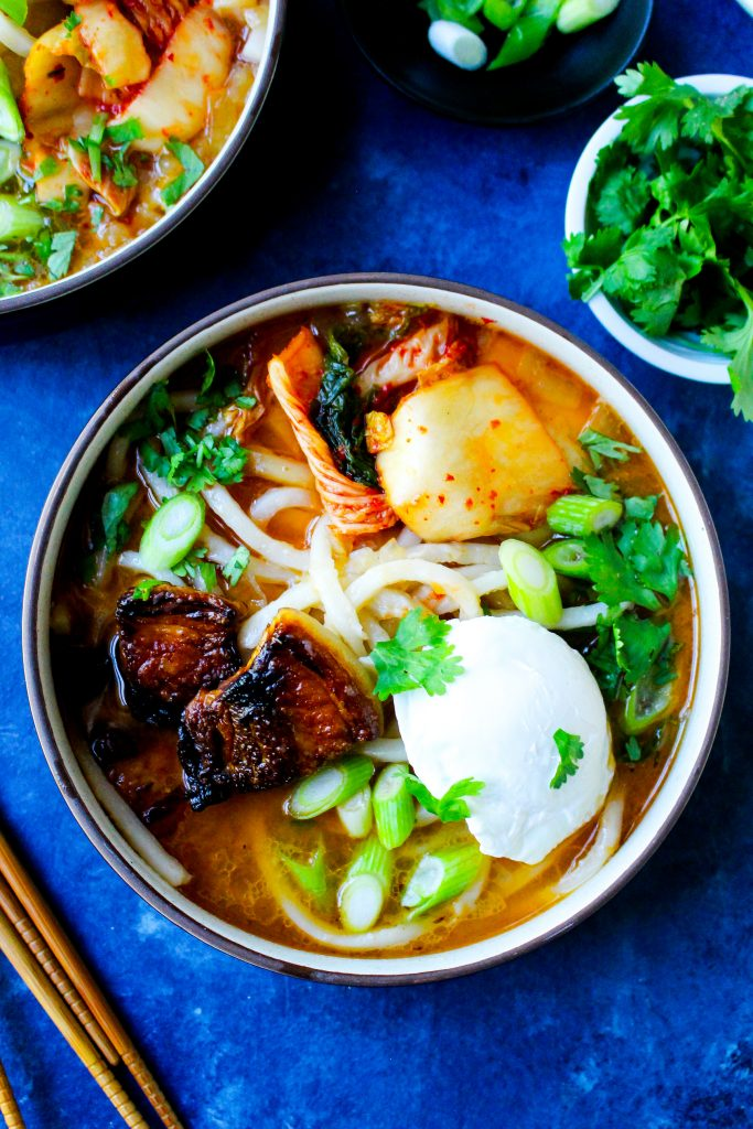 Sweet & Spicy Korean Pork Belly Udon Soup
