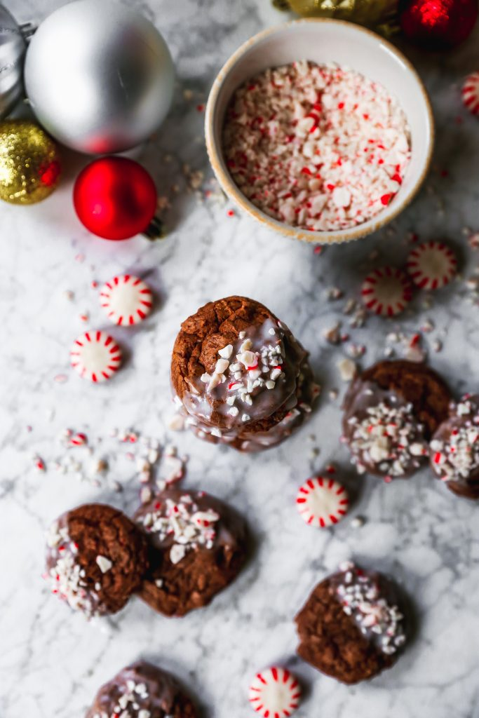 Double Chocolate Peppermint Crunch Cookies
