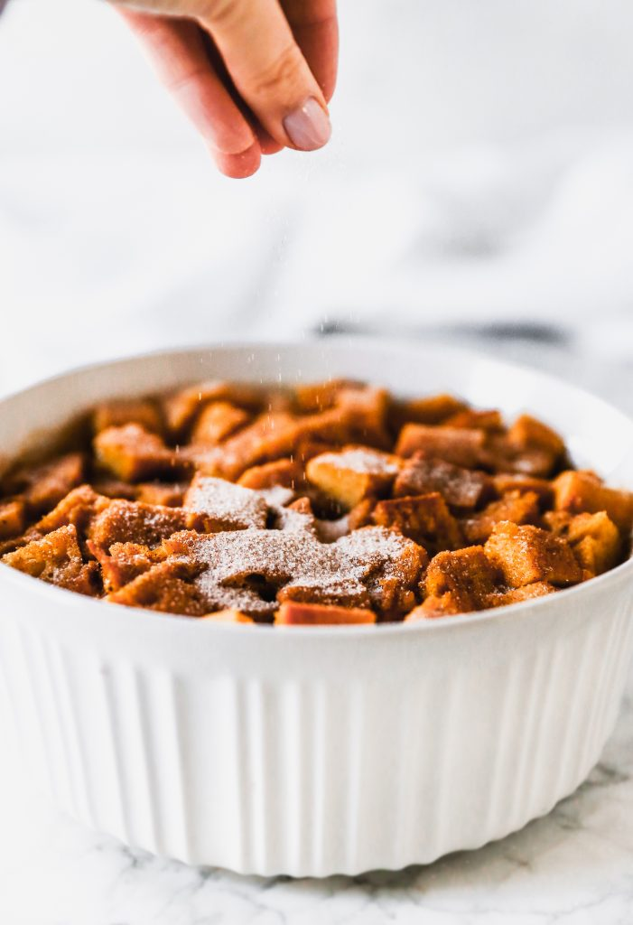 Pumpkin French Toast Casserole with Cream Cheese Drizzle