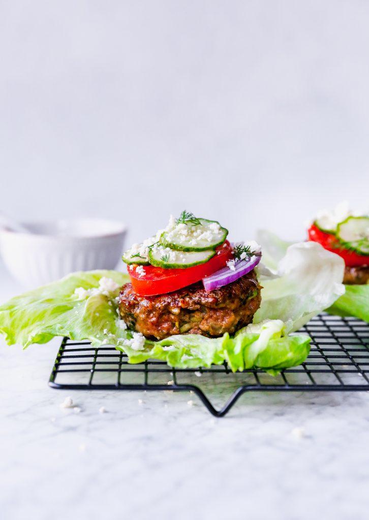 Skinny Greek Lamb Burgers