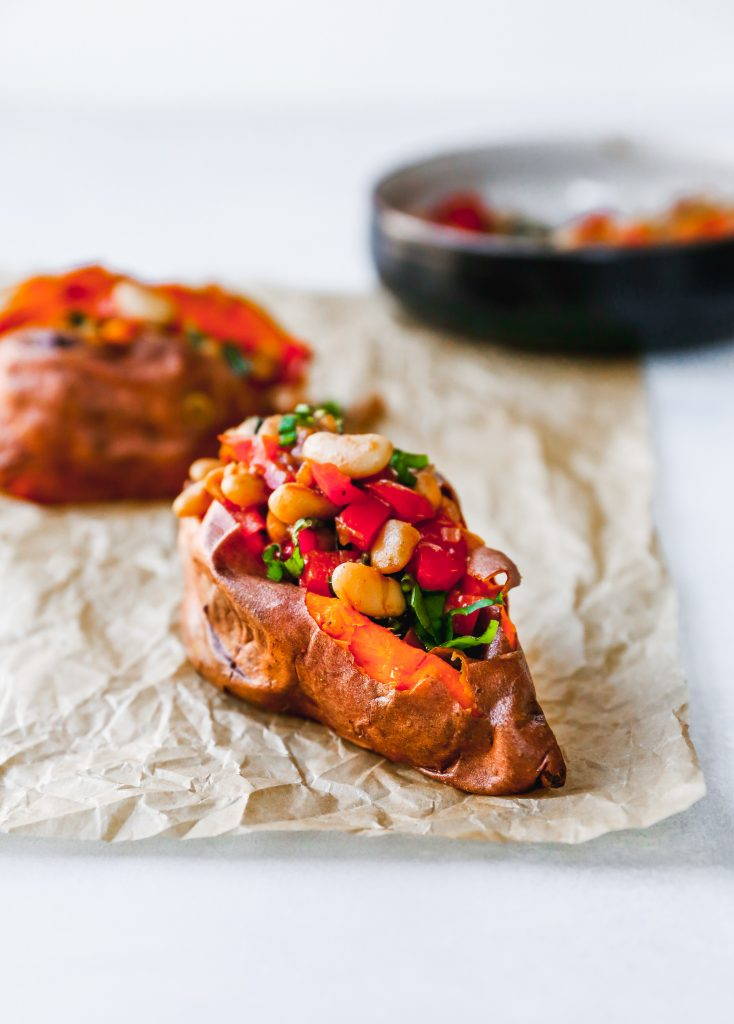 Baked Sweet Potatoes with Warm Cannellini Bean Salad
