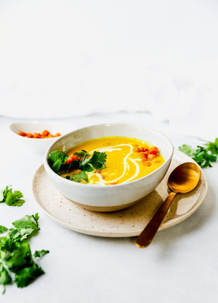 Golden Cauliflower Soup with Crispy Chickpeas